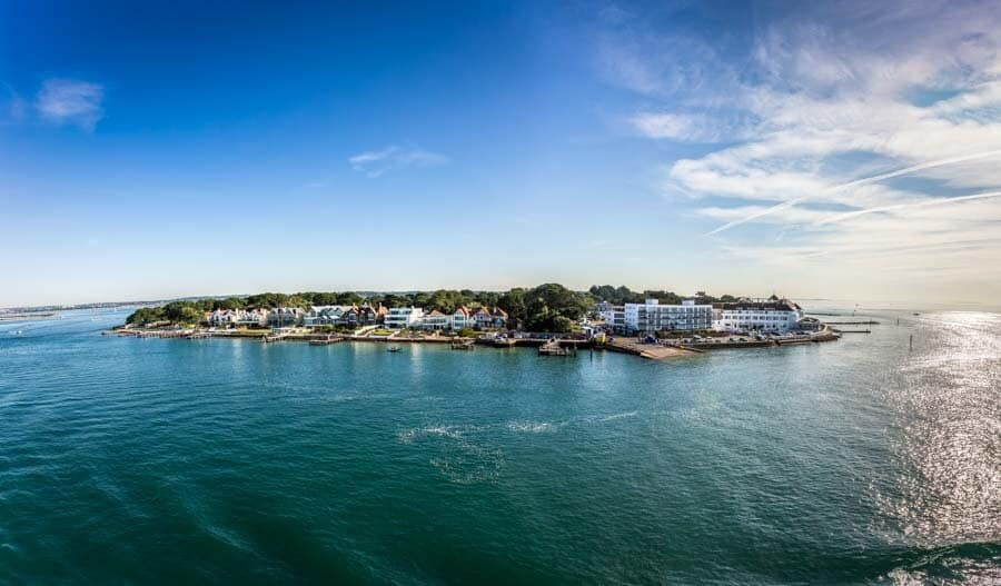 Sandbanks in Poole photographed from the Barfleur Brittany ferry