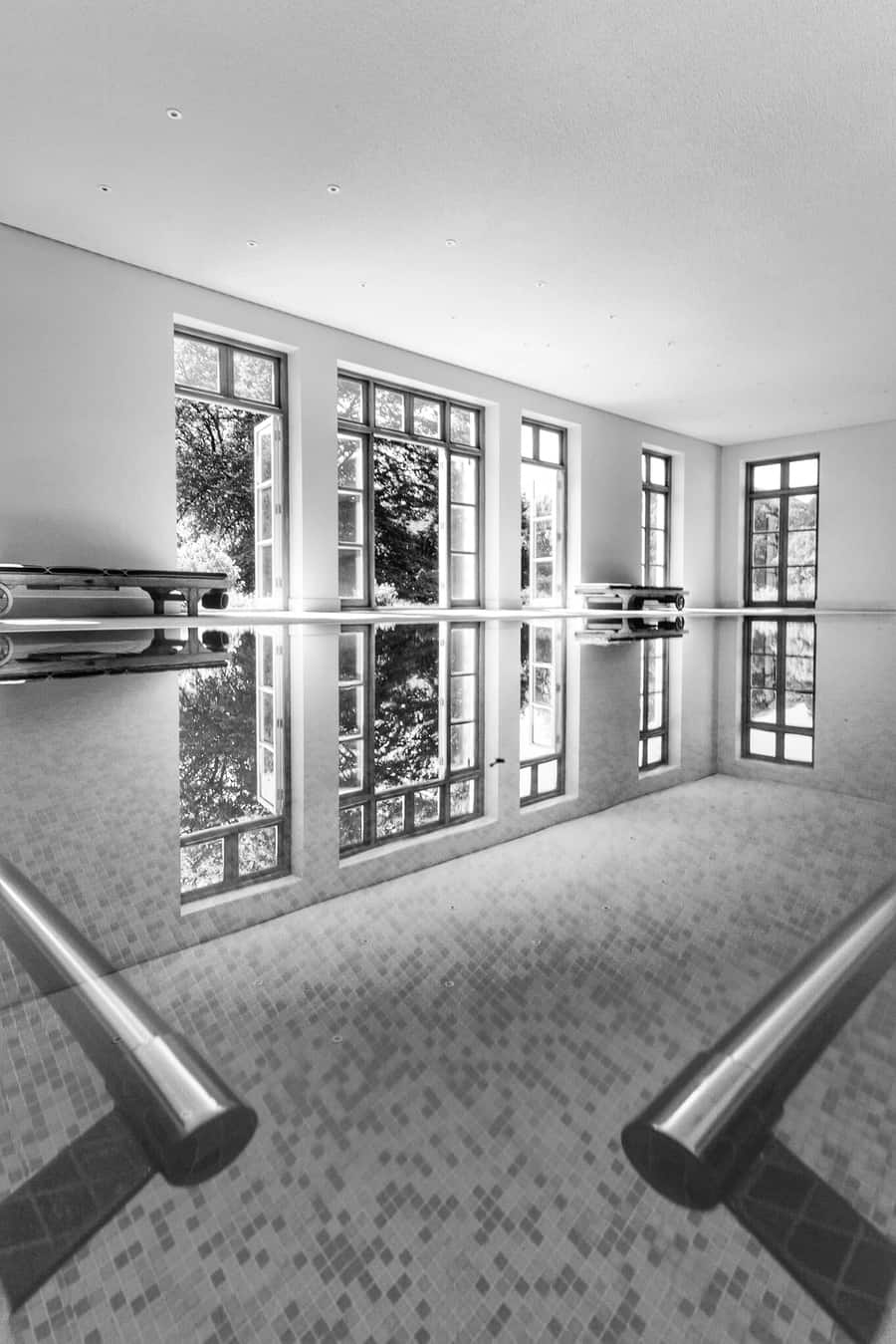 The black and white version by Rick McEvoy interior photographer in Dorset  This is a   swimming pool   in a stunning Dorset country house.  One picture. Three edits. Which do you prefer?  Talking of swimming pools check out this article     Awe-Inspiring Above Ground Pools for Your Own Backyard Oasis    Great ideas for anyone thinking of building their own swimming pool.