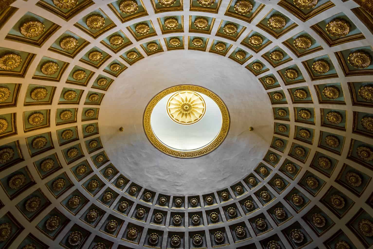 The stunnng ceiling of Saint Michael and Saint George Palace, Corfu Town