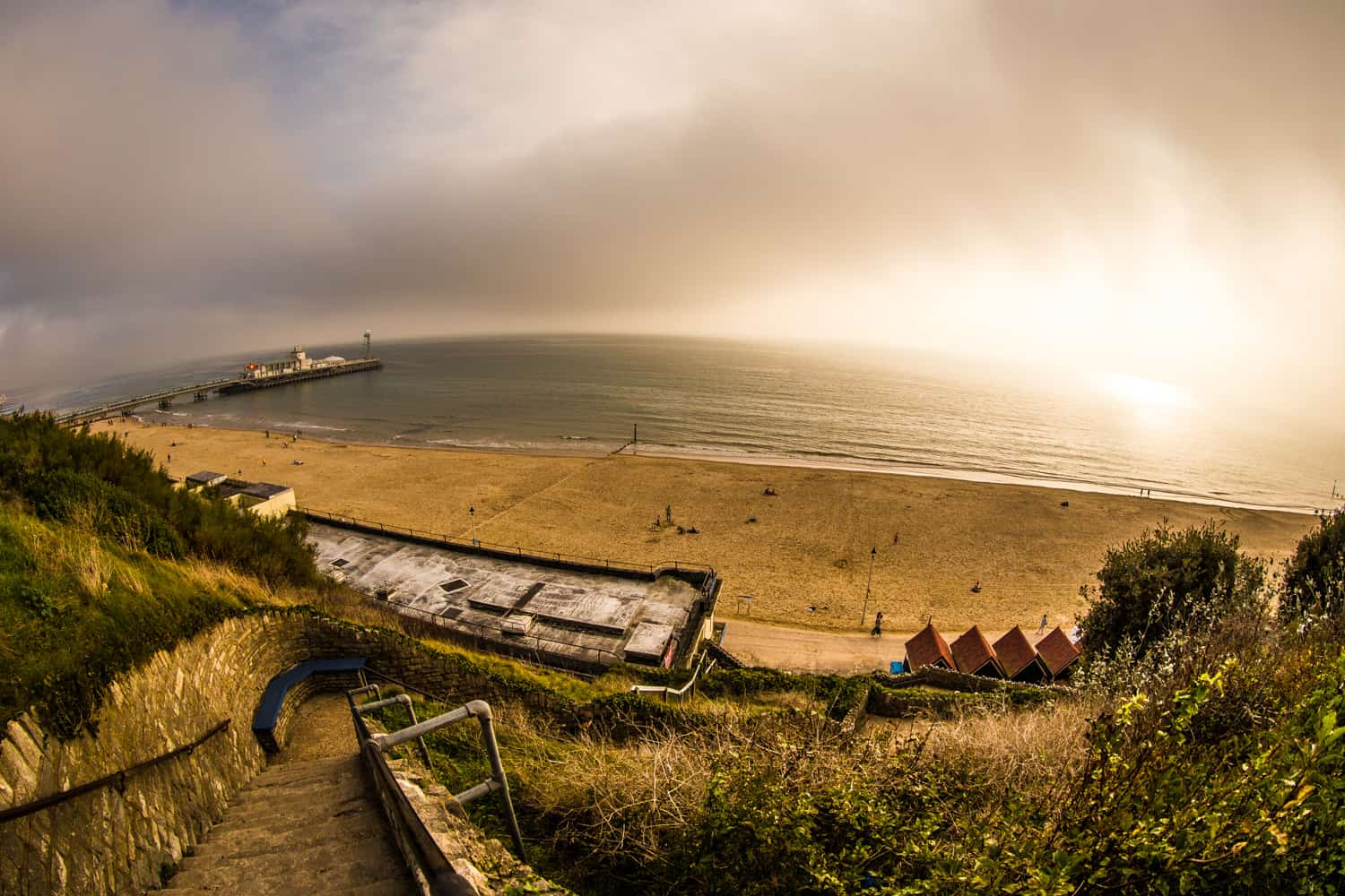 The pier and beach photographed from above by Bournemouth Photographer Rick McEvoy