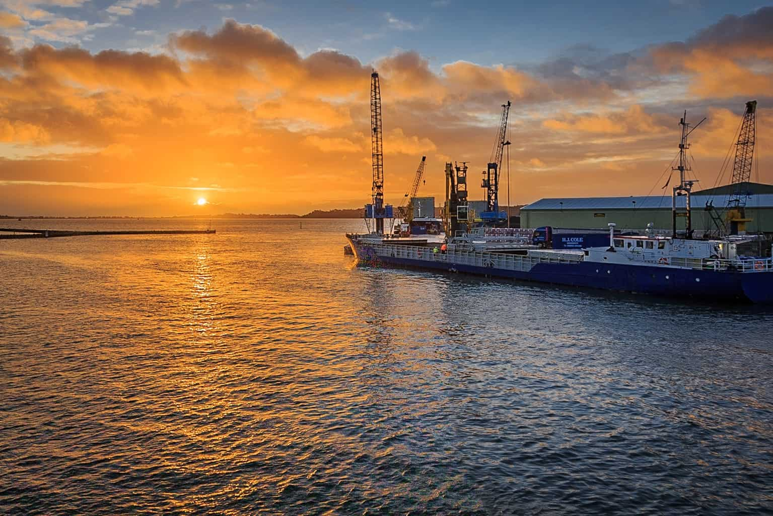 The Port of Poole at sunrise photographed by Poole Photographer Rick McEvoy