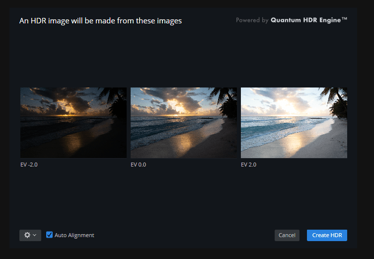 The only thing that I selected was daylight white balance