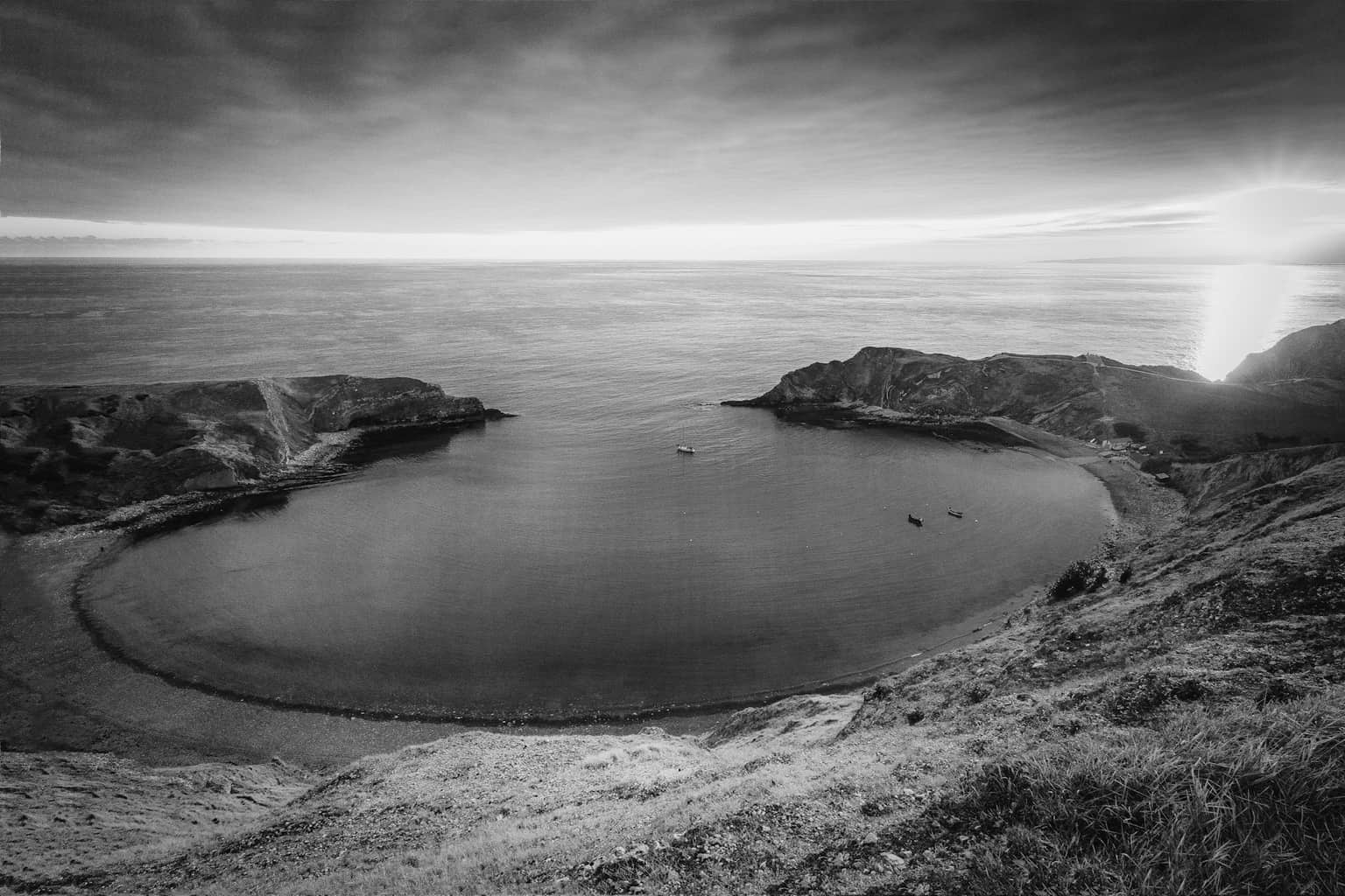 Lulworth Cove - black and white landscape photography in Dorset by Rick McEvoy