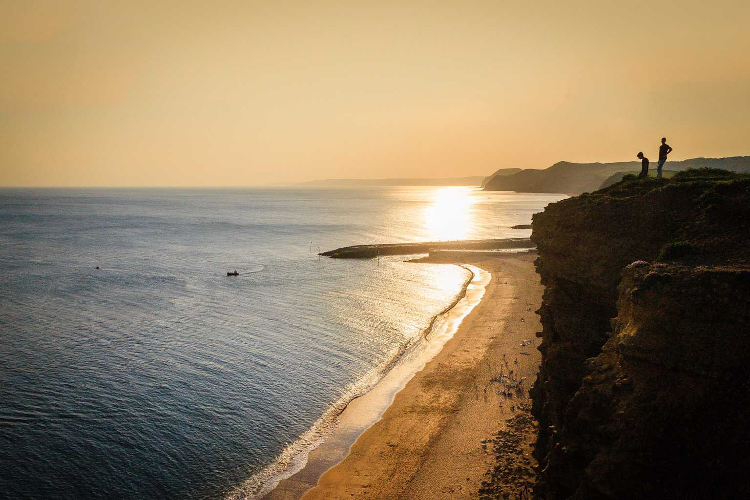 The beach at West Bay viewed from the cliffs above