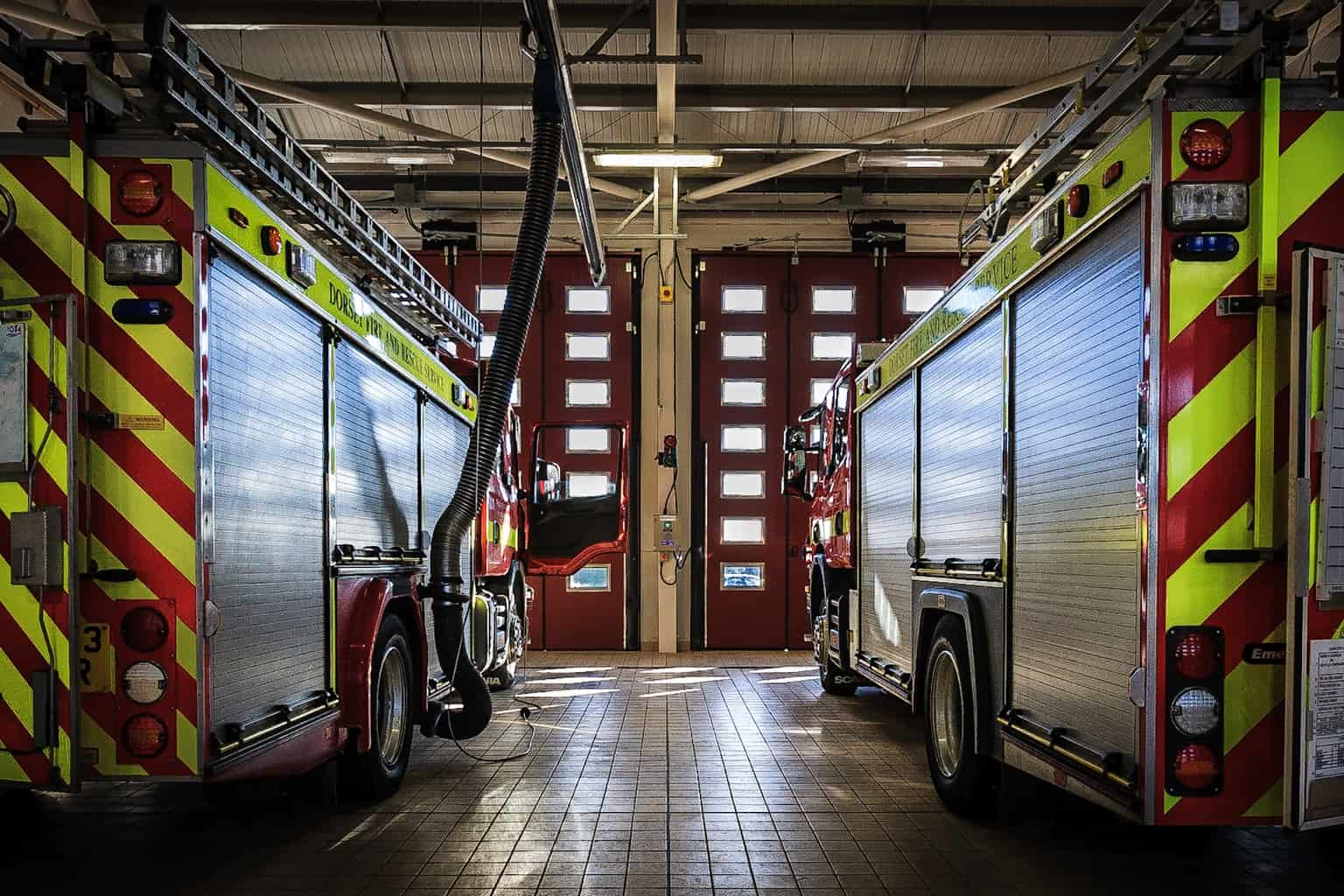 The appliance bay at Dorchester Fire Station by interior photographer Rick mcEvoy