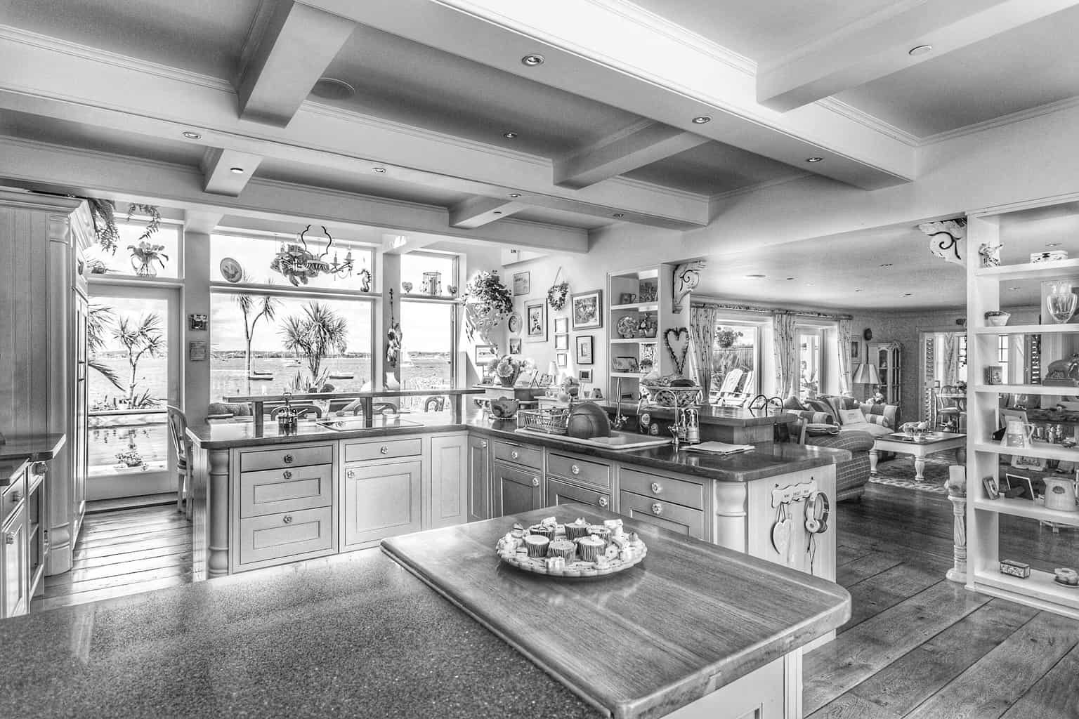 Black and white picture of a kitchen in Sandbanks by Rick McEvoy Poole photographer
