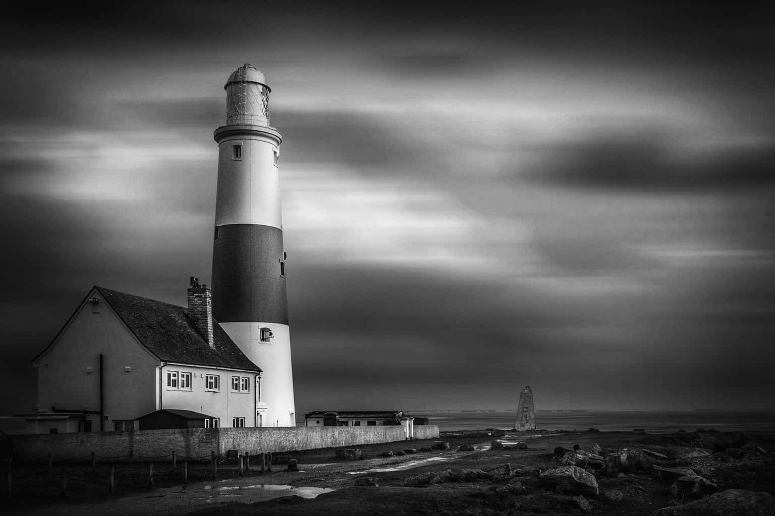 Black and white picture of Portland Bill Lighthouse