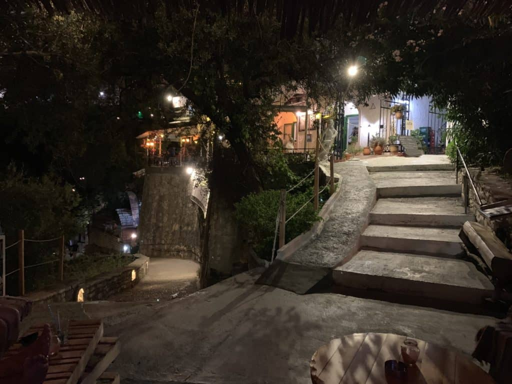 Mikes Bar in Parga - steps either way!