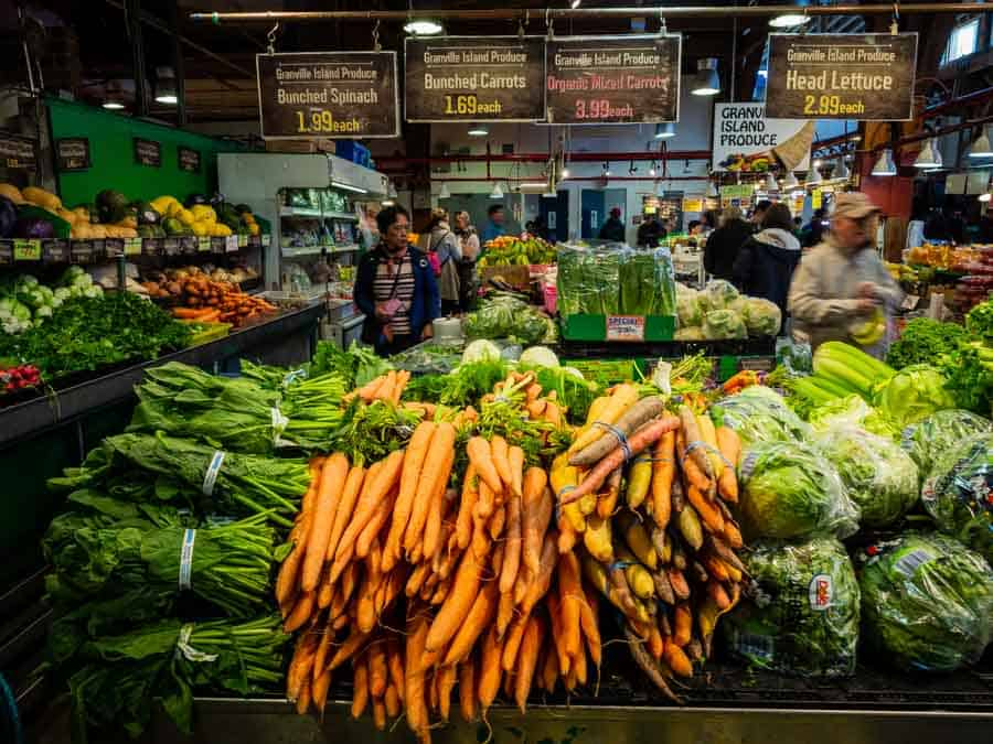 Photo of a colourful market Stall in Vancouver Canada