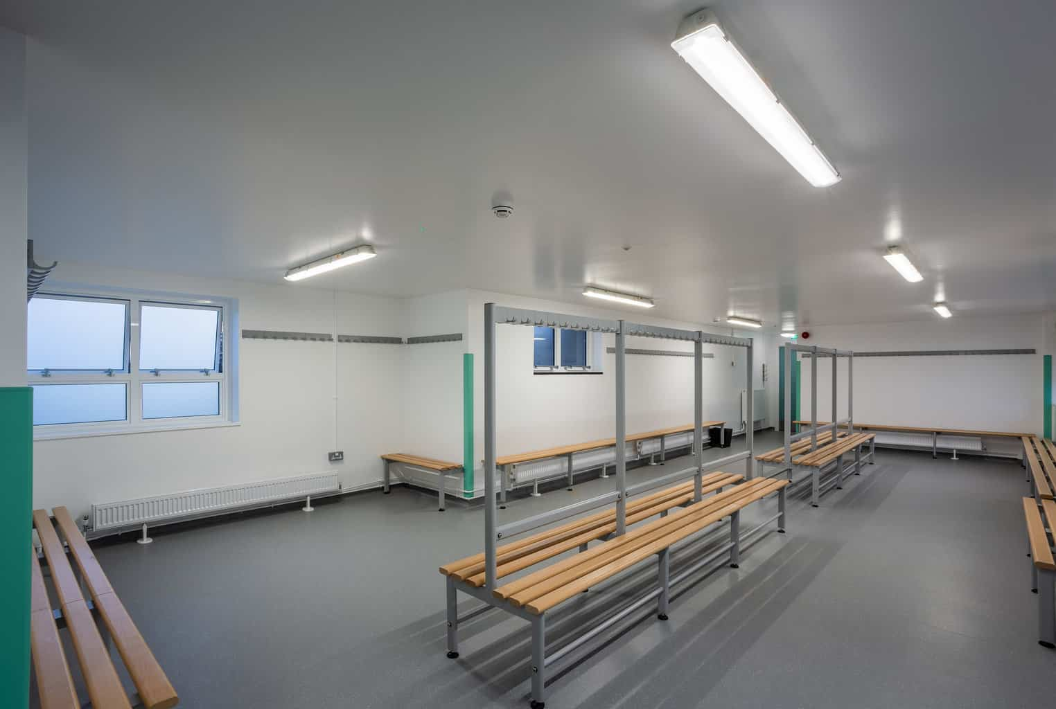 Changing room refurbishment photographed for the architect Kendall Kingscott