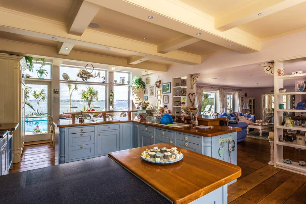 Picture of a kitchen in Sandbanks with a sea view by Rick McEvoy interior photographer.jpg
