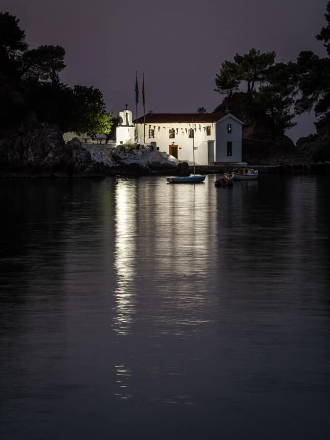 The white building Panagia Church at night