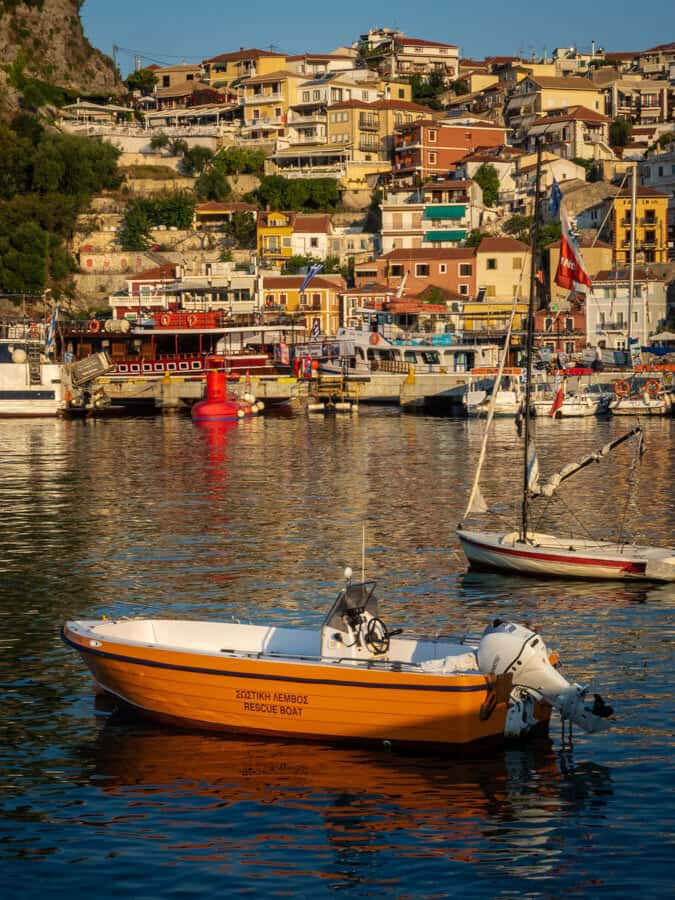 Orange rescue boat Parga