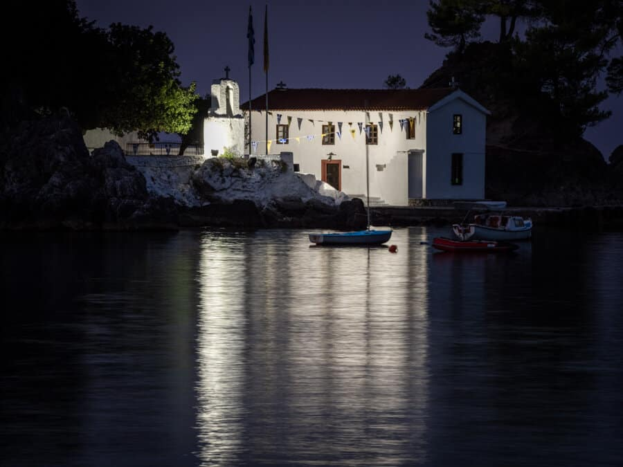 Panagia Church reflections at night