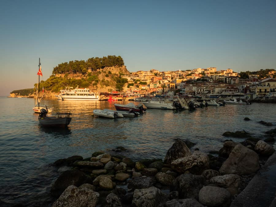 Parga sunrise illuminating the famous buildings