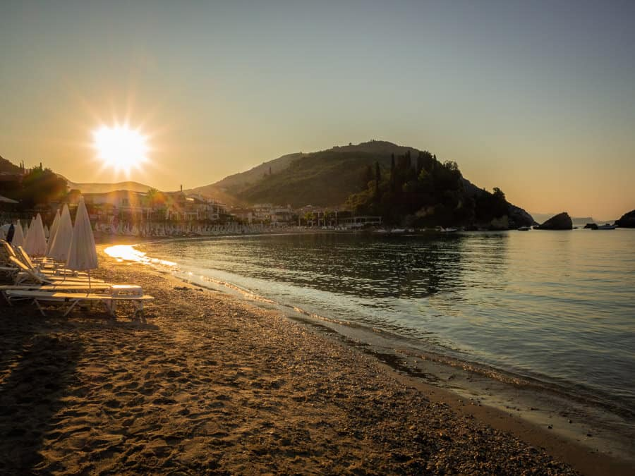 Sunrise on the main beach in Parga