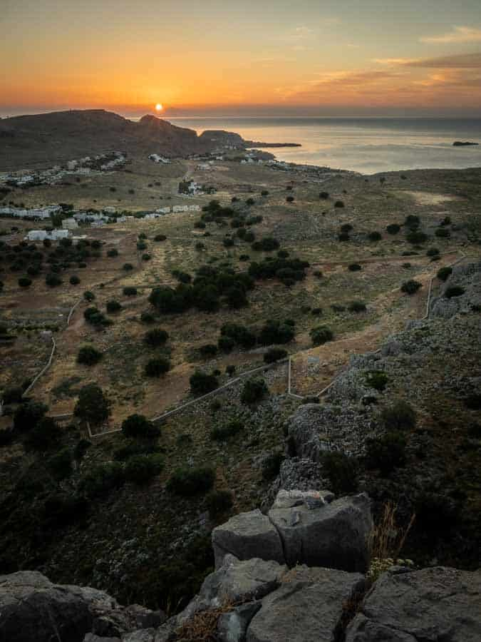 Sunrise view from the hills above Pefkos looking towards Lindos
