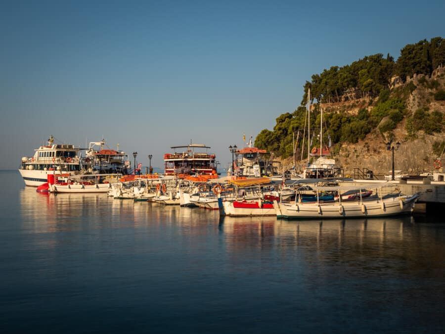 The boats of Parga at sunrise