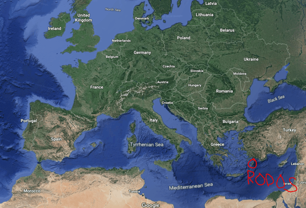 Where is the Greek Island of Rhodes?