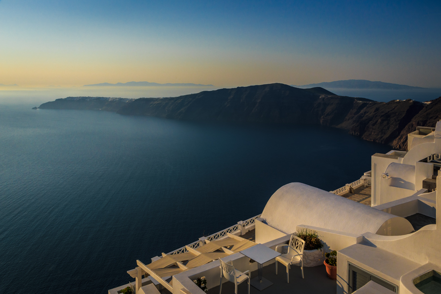 View of the caldera of Santorini and Oia from a hotel in Imerovi