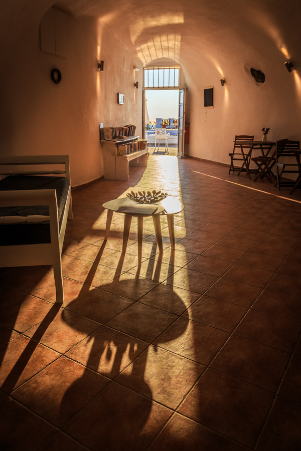 Lovely sunlight spilling into the reception at Kasimatis Suites