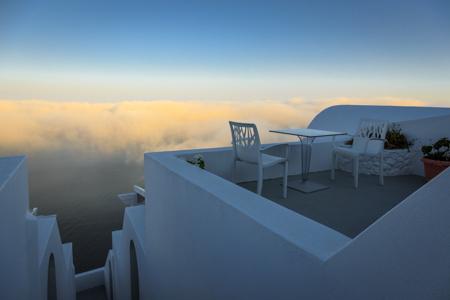Sunrise view of the low clouds from Kasimatis Suites in Imerovgi