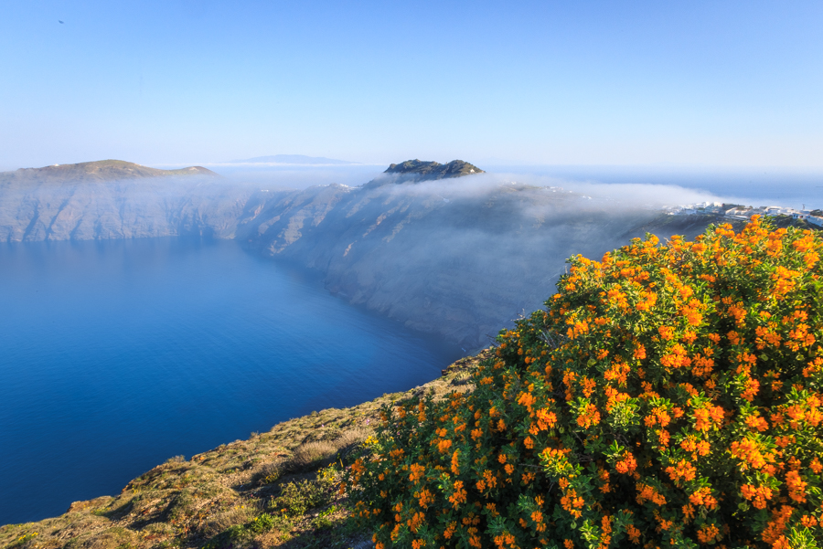 Stuning landscape photo with morning cloud on the caldera of San