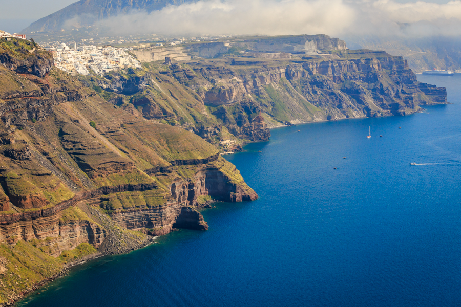 Stunning view of Fira and the cliffs of the Santorini caldera