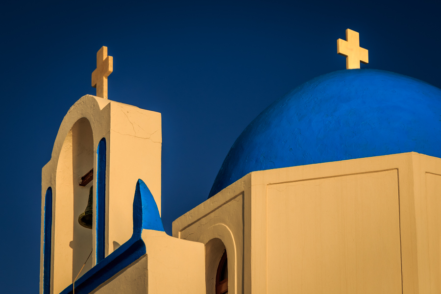 The two crosses of the blue domed roof of the Greek Church Ekkli