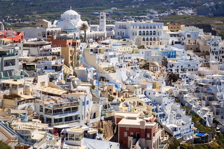 The buildings of Fira the captial of Santorini