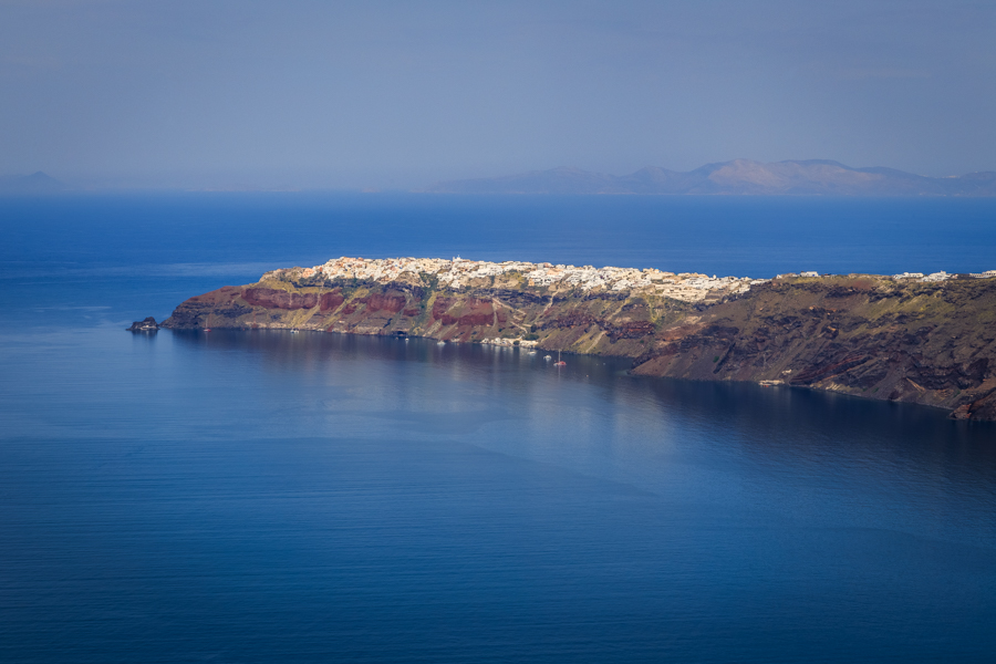 View looking towards Oia from the top of the Santorini Caldera