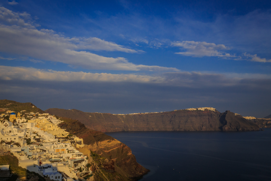 The view from Oia looking back towards Imerovigli and Fira