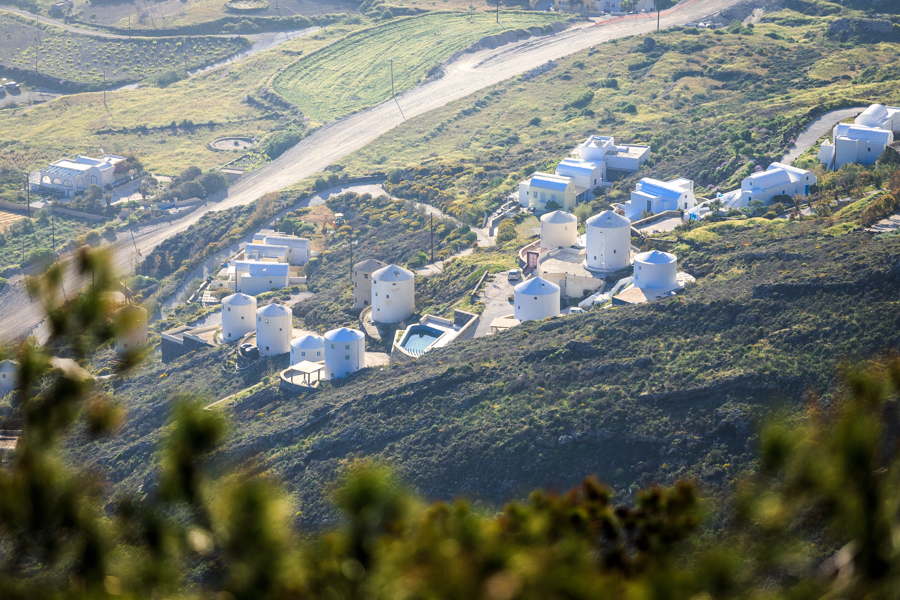 White buildings of Santorini viewed from the top of the caldera